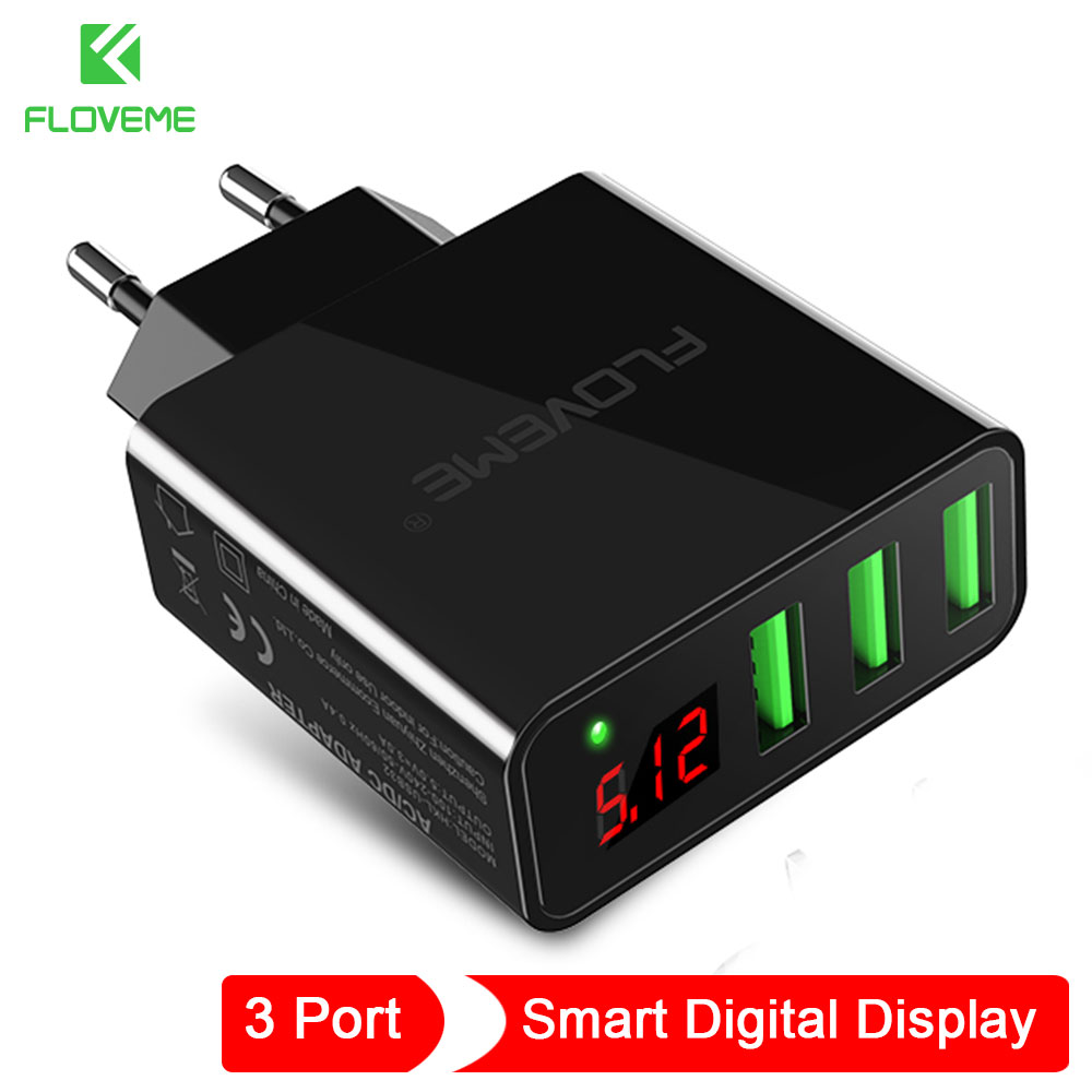 FLOVEME Phone Charger 3 Port For iPhone Charger Android Micro Digital Display USB Charger For Samsung Galaxy Xiaomi Huawei
