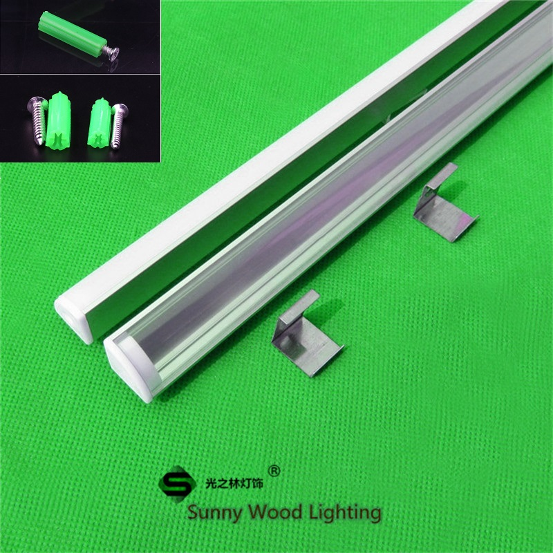 5-30pcs/lot 40 inch 1m 45 degree corner aluminum profile for 5050 led strip,milky/transparent cover for 12mm pcb with fittings