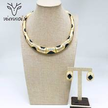 Viennois White / Gold Color Stud Earrings Necklace Jewelry Set for Women Female Party Jewelry Sets недорого