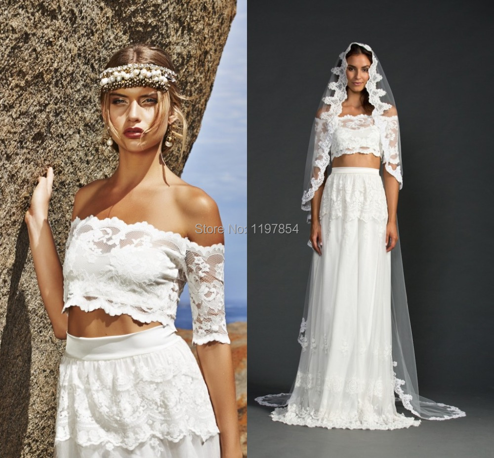 Two piece beach wedding dresses off the shoulder half for Off the shoulder beach wedding dresses