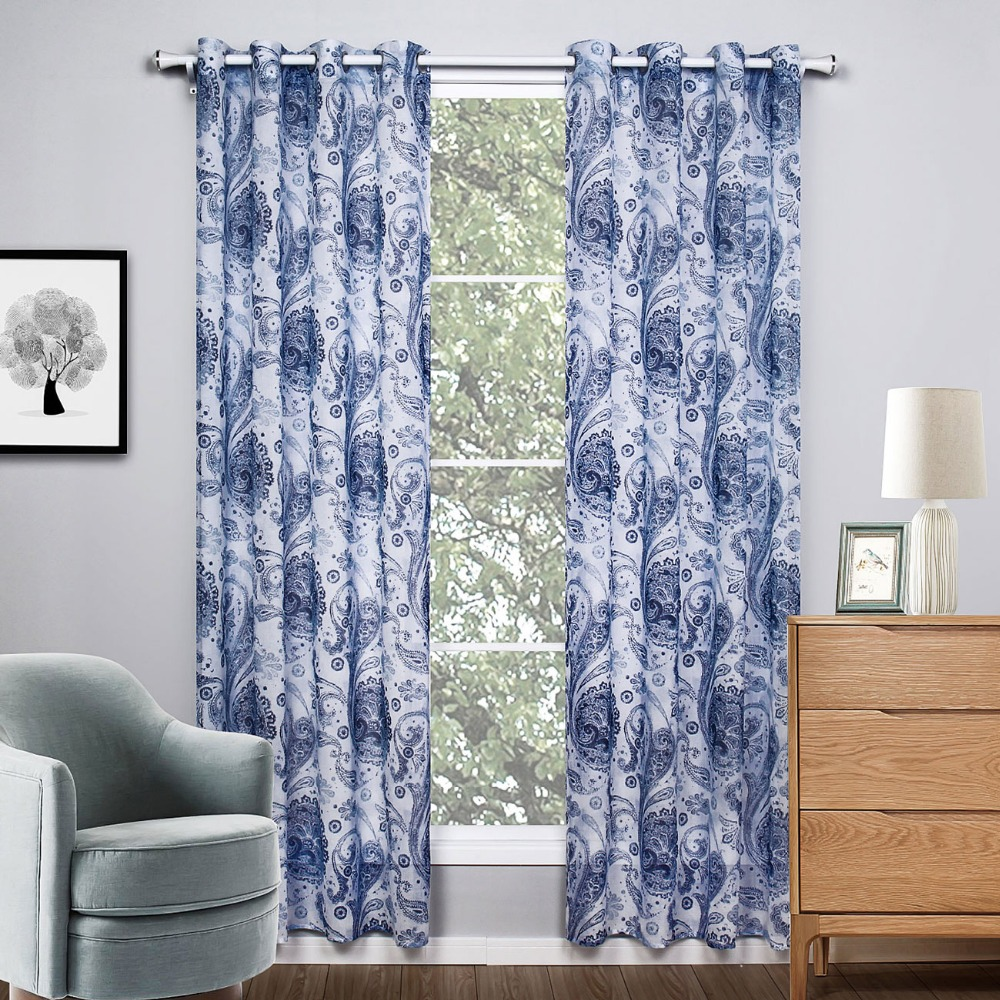 Printed curtains living room - Grey Curtains Printed Floral Window Curtains Living Room European And American Style Kids Curtains Fabric 1piece