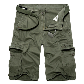 2019 Mens Military Cargo Shorts Summer army green Cotton Shorts men Loose Multi-Pocket Shorts Homme Casual Bermuda Trousers 40 1