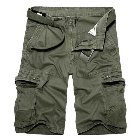 2019 Mens Military Cargo Shorts Summer army green Cotton Shorts men Loose Multi-Pocket Shorts Homme Casual Bermuda Trousers 40 Lahore
