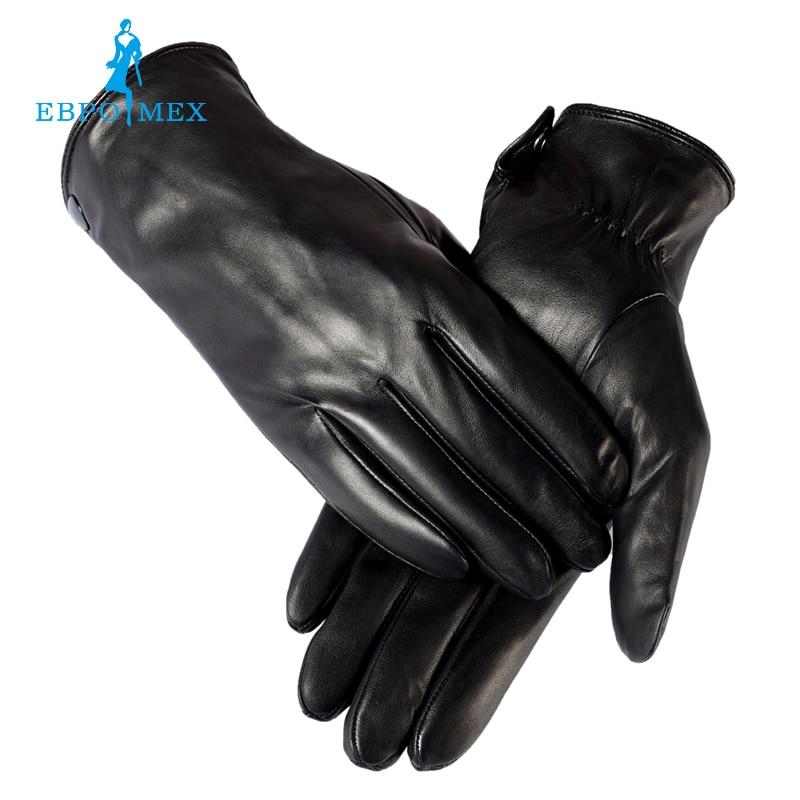 Winter Handschuhe Männer Echtes Leder Schwarz Leder Handschuhe Obligatorisch Warme Winter Herren Handschuhe Freies Verschiffen Weich Und Rutschhemmend Männliche Leder Handschuhe
