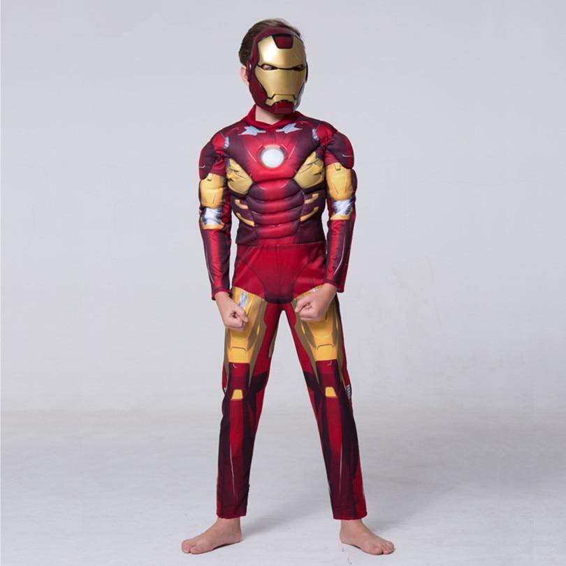 2018 Kids Marvel Boys Iron Man Mark 42 Muscle Kids Halloween Costume Fantasia Avengers Superhero Cosplay Outfit
