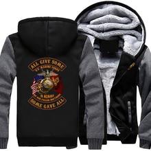 Cá tính Hoa Kỳ Marine Corps Áo Thời Trang Giản Dị Trùm Đầu Dây Kéo Hoodies Mùa Thu Mùa Đông Mens Áo Khoác