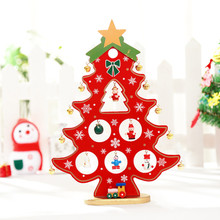 New Cute 27CM High XMAS Wooden Tree X'MASGift 1pc Mini Table XMAS Trees Decoration Wood Christmas Tree with Ornament for X'mas