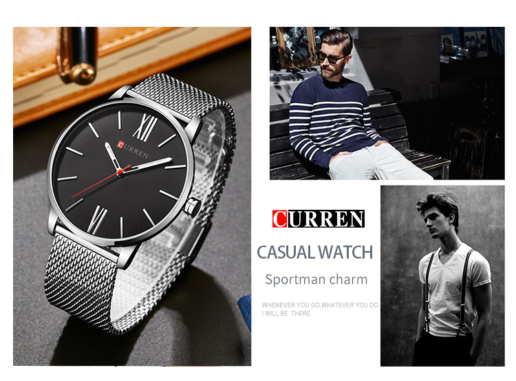 Curren Mens Watches Top Brand Luxury Gold Quartz Men Watch Drop Shipping Mesh Strap Casual Sport Male Relogio Masculino 8238
