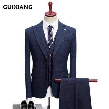 (Jacket+Vest +Pants) 2017 High quality Men Slim fashion casual business suits jacket Men's wool suits wedding dress suit men