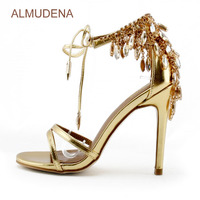 ALMUDENA Gold Bling Bling Crystal Sandals Drape Tassel Beaded Chain Shoes Lace up Glittering Thin High Heel Fringe Wedding Pump