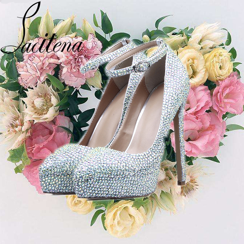 7ac29aef97acf8 Swarovski Crystal Shoes Customized Genuine Leather Silver Sheepskin Shoes  Handmade Diamond Women Wedding Shoes Bridal Shoes-in Women s Pumps from  Shoes on ...