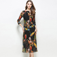 New Spring Summer 2017 Birds Print Women Dress Elegant 3 4 Sleeve O Neck Vestidos Femme