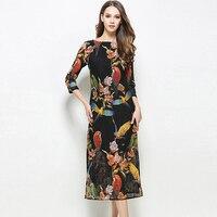 New Spring Summer 2017 Birds Print Women Dress Elegant 3 4 Sleeve O Neck Vestidos Femme