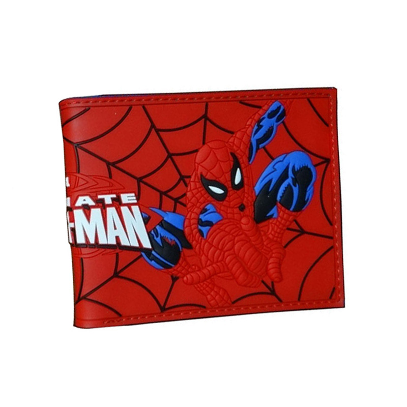 New Arrival Red Spiderman Wallets Cartoon Anime Purse Hero Creative Gift for Boy Girl Money Bags Men Women PVC Short Wallet dragon ball z wallets men women creative gift purse standard short wallet leather money organizer bags cartoon anime wallet