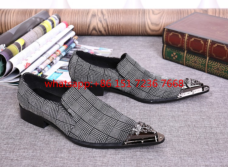 2017 Hot Sell Genuine Leather Metal tip Men Shoes High Quality Loafers Slip-on Flats Evening Wedding Party Shoes Plus size 38-46