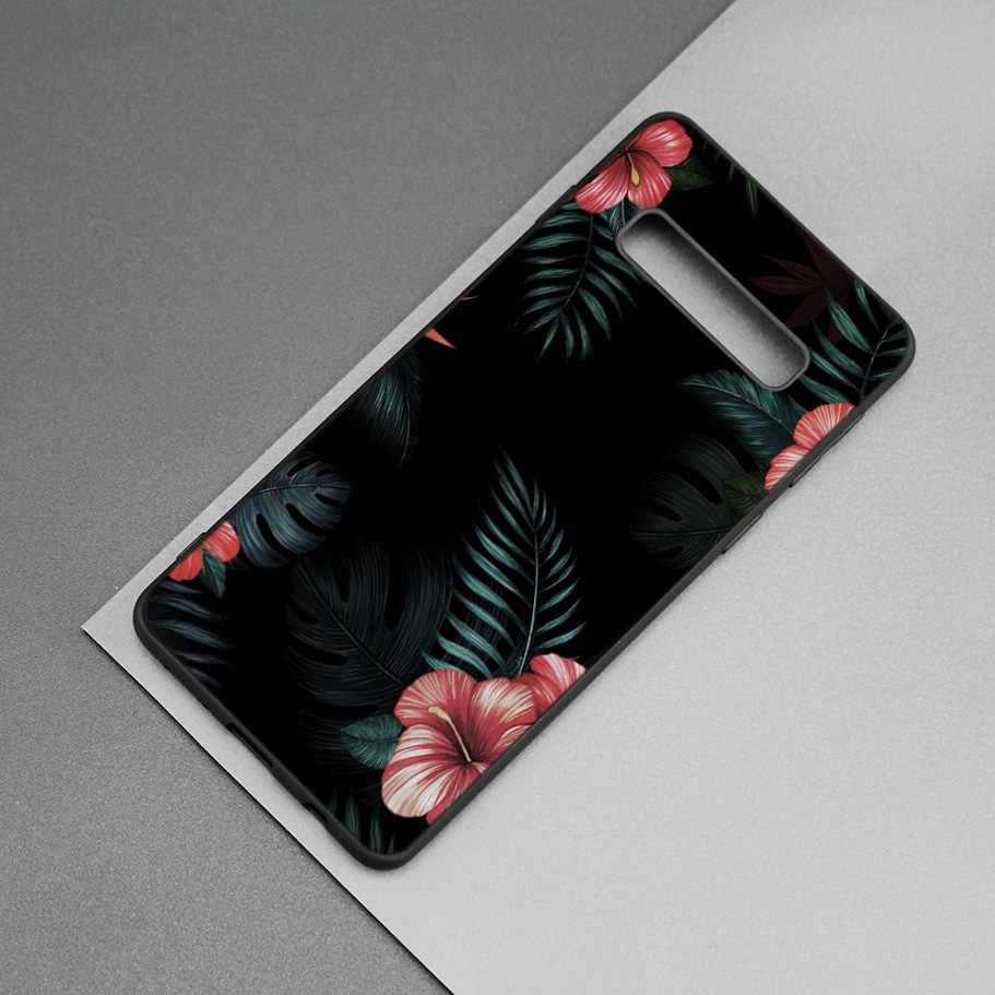 Узор в виде банановых листьев тропических Черный силиконовый чехол для samsung Galaxy M20 S10e S10 S9 M10 S8 плюс 5G S7 S6 край M40 M30Cover Coque