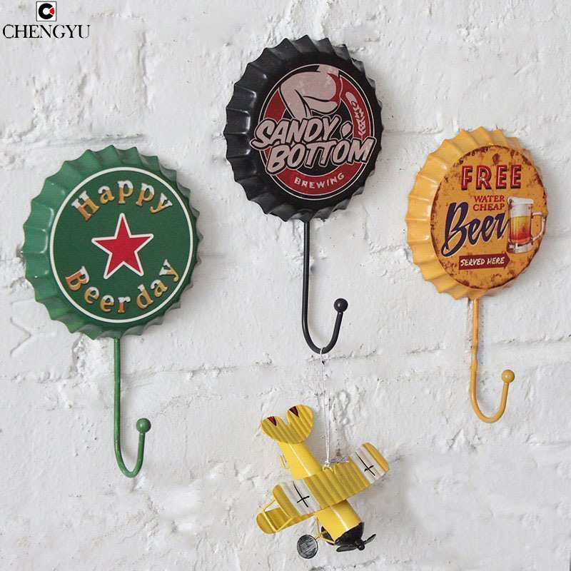 American Retro Creativity Key Link Wall Hanging Wall Hanging Hooks Beer Cover Wall Decorations Diameter10cm+Length18cm american flag print wall hanging tapestry