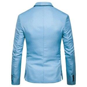 Image 3 - Erkek bir düğme çentikli yaka yeşil Blazer erkekler marka Slim Fit günlük giysi ceket Blazers erkek iş ofis kostüm Homme 2XL