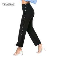 Sexy High Split Wide Leg Pants Woman Side Button Casual Trousers Slim Solid Black Package Hip