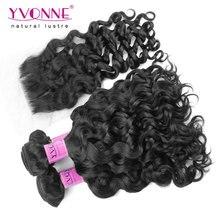 3 Bundles Italian Curly Peruvian Virgin Hair With Closure,Top Quality YVONNE Human Hair Weave,Natural Color 1B