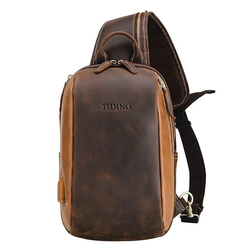 Chest Bag For Man Genuine Leather 2019 business man dress vintage fashion travel chest bag shoulder message bags cow leather