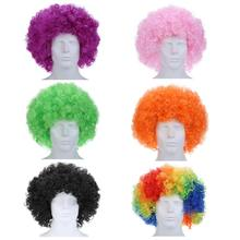 Multicolore court bouclé explosif tête perruque accessoires drôle moelleux Clown perruque casquettes plus récent ondulé rond Clown perruque Fans perruque(China)