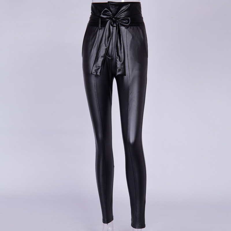 InstaHot Gold Black Belt High Waist Pencil Pant Women Faux Leather PU Sashes Long Trousers Casual Sexy Exclusive Design Fashion 19