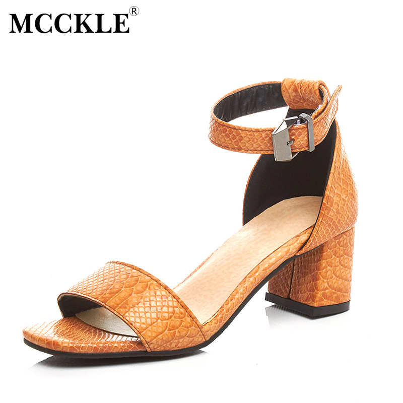 MCCKLE 2017 New Fashion Women Shoes Woman Sandals Black Peep Toe Buckle Hot Sale Chunky Heel Ankle Strap Comfortable Ladies new hot sale fashion rivets flowers studs chunky heel women sandals ankle flowers buckle party office shoes woman casual sandals