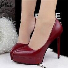 Обувь на платформе и высоком каблуке; пикантные свадебные туфли для вечеринки; женские туфли-лодочки; женская обувь на высоком каблуке; Chaussure Femme Talon