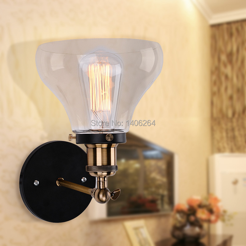 ФОТО Industrial Edison Old Fashion Simplicity Glass Wall Light Sconce Metal Base Cap For Cafe Bar Hall Club Bedside Store Home Decor