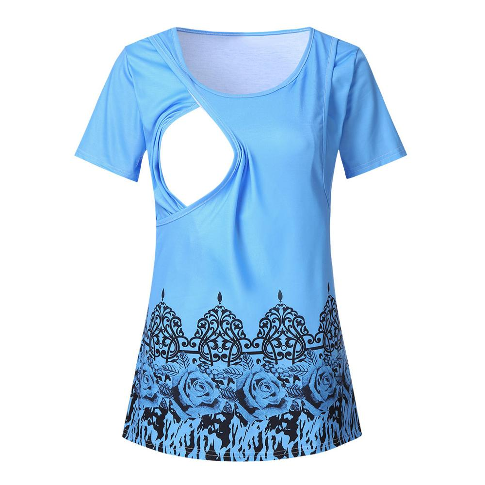 Summer Women Breastfeeding Clothes Floral Short Sleeve Nursing T-shirt Top Maternity Clothes Women Casual Tee Tops