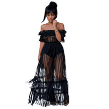 Women Sexy Long Dress Off Shoulder Slash Neck Sheer Mesh Striped Maxi Black See Through Summer Ruffle Party Vestidos