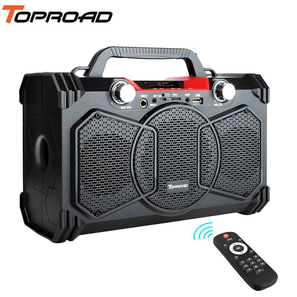 TOPROAD Big Power 30W Bluetooth Speaker Bass Portable Wireless Speakers Soundbox Support Remote Control FM Radio