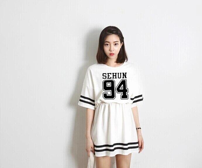 2016 Top font b Fashion b font Empire Jersey Half Robe Long Dress New Exo Lu