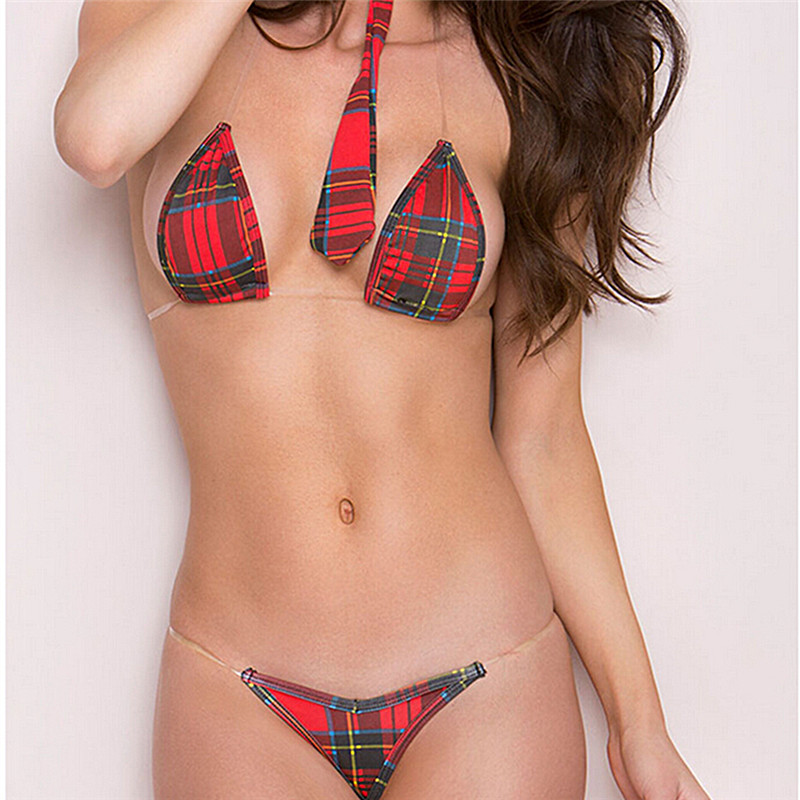 New sexy lingerie hot red england cosplay Student uniforms lattice backless three-point bikini+tie+thongs exotic lingerie(China)