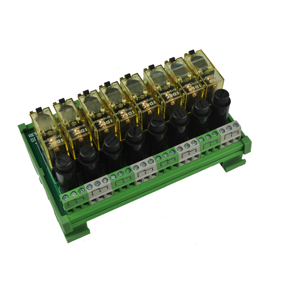 8 Channel 1 Spdt Din Rail Mount Idec Rj1s With Fuse Interface Relay Wiring Module In Relays From Home Improvement On Alibaba Group
