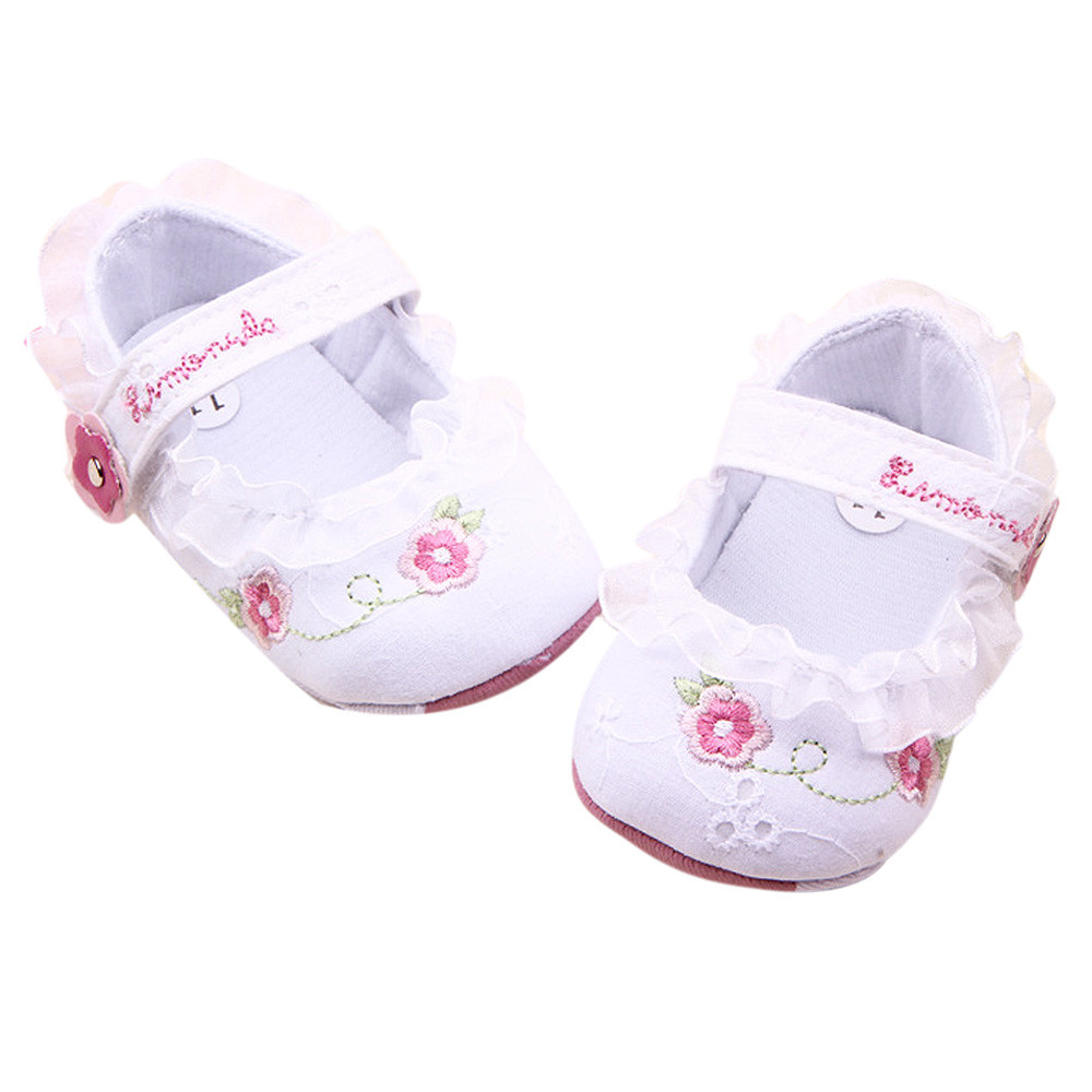 Baby Shoes White Baby Soft Sole Crib Walker Shoes  11 Learning Walk Shoes
