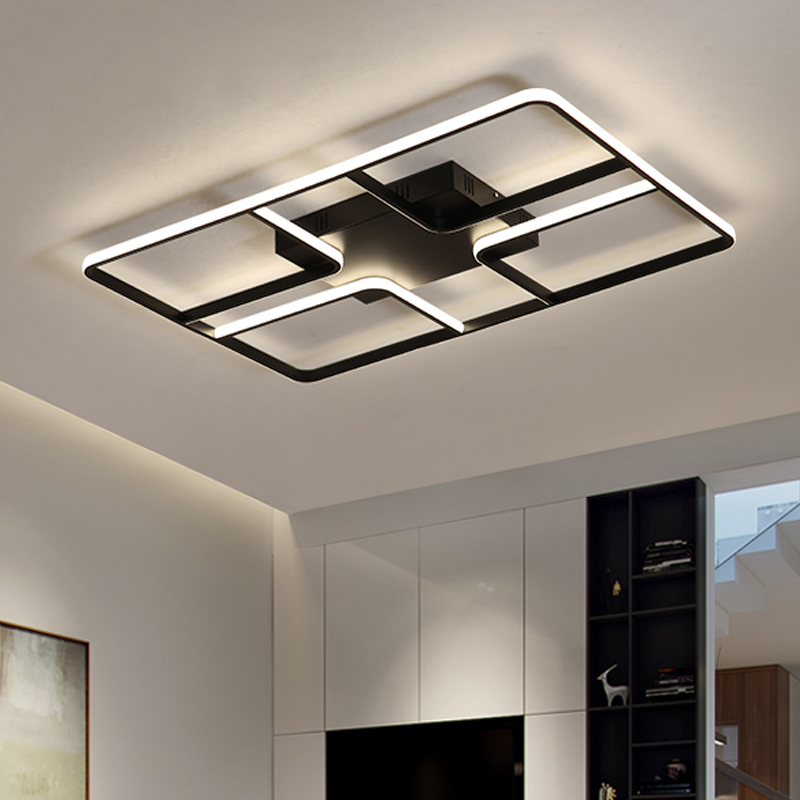 New Rectangular Modern Led Ceiling Lamp For Living Room Bedroom Kitchen Black And White Hall Aluminum Lighting