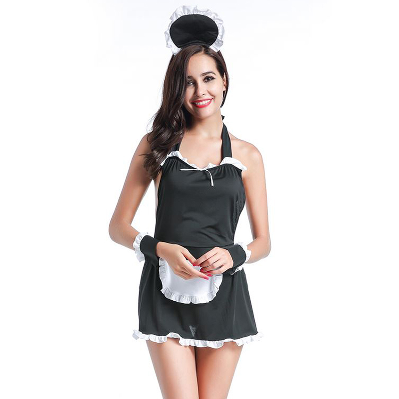 Halloween Costumes for Women Sexy Lingerie Female Halter Backless Servant Uniform Lolita Outfit French Apron Maid Fancy Dress