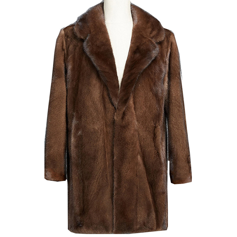 2019 Autumn and <font><b>Winter</b></font> new Imitation Mink coat <font><b>Men's</b></font> tidy Long coat Mink <font><b>Fur</b></font> Grass Suede plus size <font><b>Shirt</b></font> More size S-4XL 5XL 6XL image