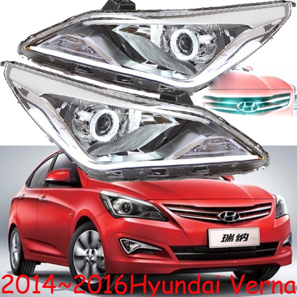 HID,2014~2016,Car Styling,verna Headlight,Solaris,accent,Elantra,Genesis,i10,i20,santa fe,tucson,veracruz,lantra;verna head lamp accent verna solaris for hyundai led tail lamp 2011 2013 year red color yz