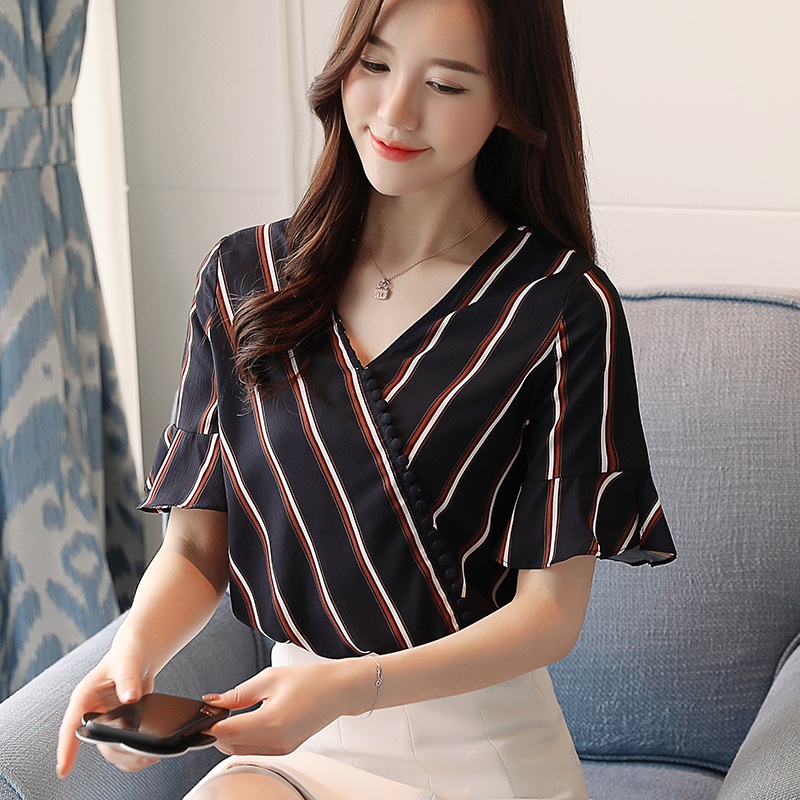 New 2018 Women Shirt Blouse Fashion Striped Chiffon Flare Sleeve Women Tops Shirt Summer New Womens Clothing Blusas D659 30