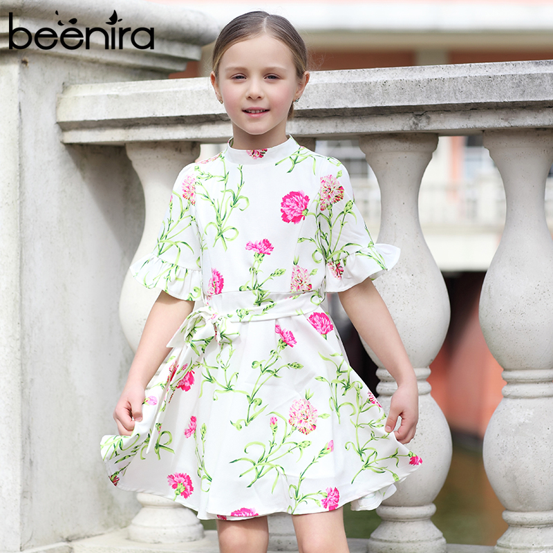 Beenira Girls Dresses 2017 New Autumn Style Children Flore Pattern Flare Half-Sleeve Princess Dress Design For 4-14Y Kids Dress new hot spring summer high quality fashion trend simple classic solid pleated flats casual pointed toe women office boat shoes