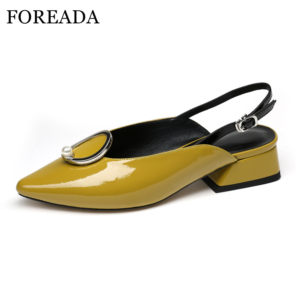 FOREADA Women Spring Shoes Patent Leather 2018 Shoes Slingbacks Pumps Med Heels Pointed Toe Buckle Strap Shoes Female Yellow facndinll 2018 spring women pumps shoes med heels pointed toe rivets patent leather rome style shoes woman casual shoes pumps