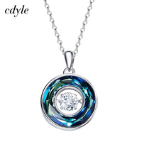 Cdyle Dancing Stone Necklace Women Pendants Crystals from Swarovski Charms S925 Sterling Silver Jewelry Fashion Green Purple New