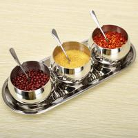 New Good quality Kitchen fashion 3pcs/set metal 304 stainless steel spice jar seasoning bottle box sugar seal storage tins rack