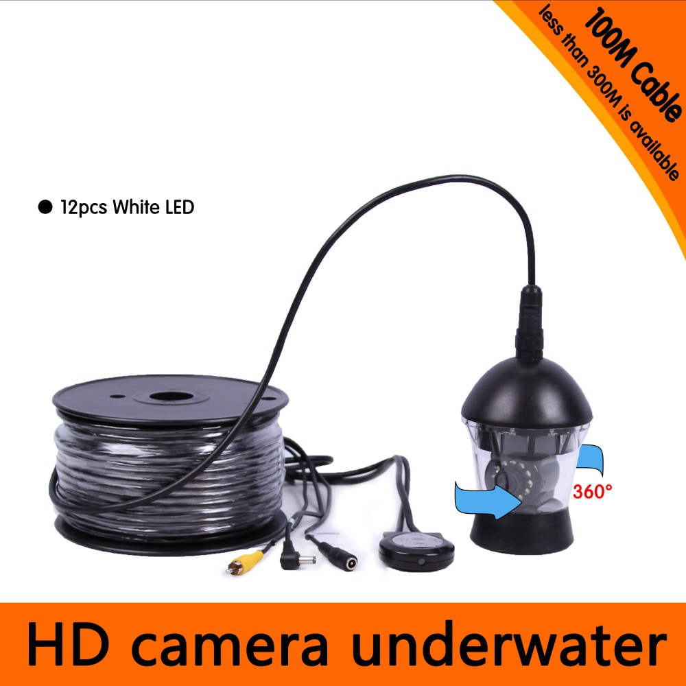 100Meters Depth 360 Degree Rotative Underwater Camera with 12pcs of White or IR LED for Fish Finder & Diving Camera 10 50 meters pack 1m per piece led aluminum profile slim 1m with milky diffuse or clear cover for led strips