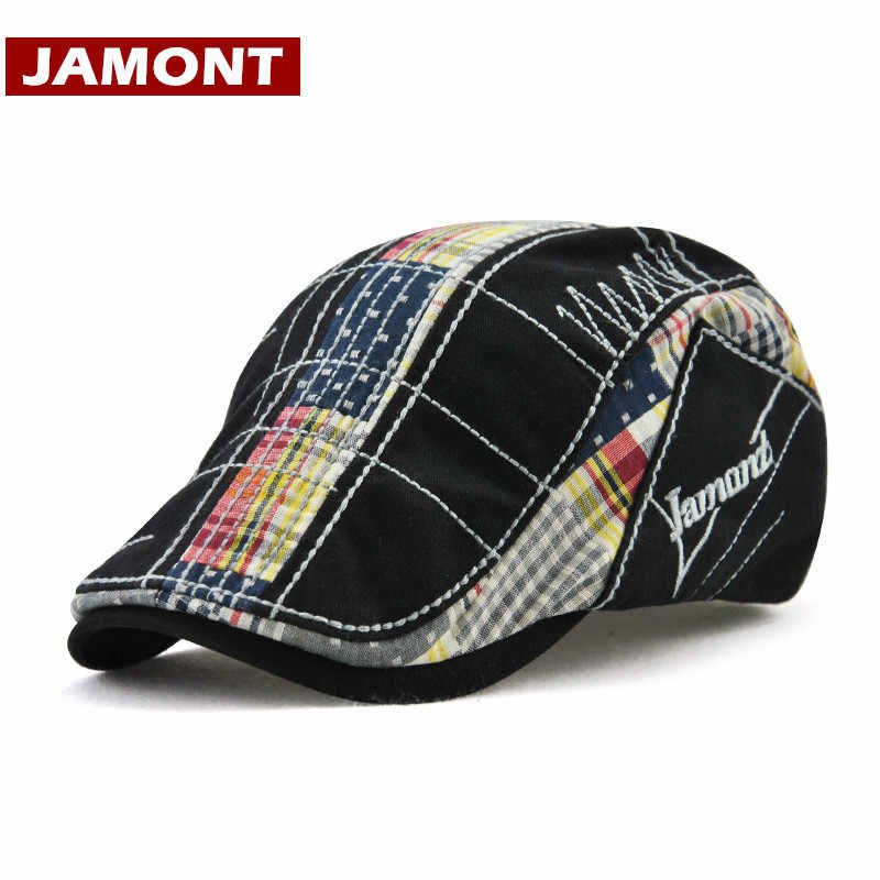 [JAMONT] 여성용 가을 모자 면화 Boina Feminina 레트로 자수 베레모 남성용 모자 Sun Visor 여성용 플랫 캡