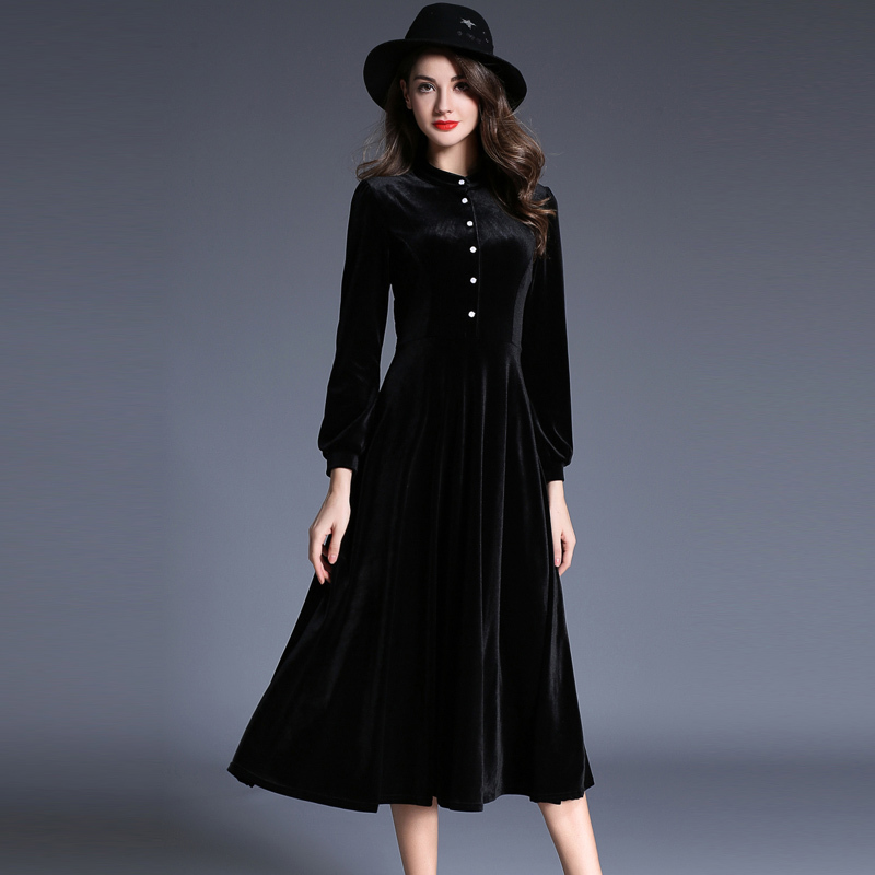 new elegant black velvet dress winter dresses women 2018