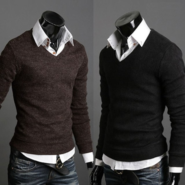 b539d8b3db4 Sweater Cardigan Pullover Men s Dress Shirts Plus Size Man Sweaters Knitted  Winter Wool V Neck Sweaters Men s Cardigan Masculino